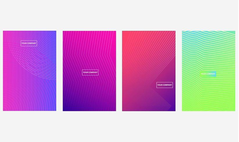 Cubiertas comerciales mínimas con gradientes de medios tonos coloridos vector