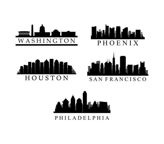 Set di skyline della città americana vettore