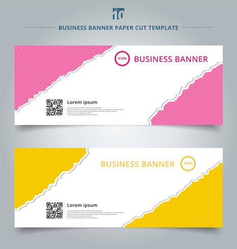 Set of paper rip web banners vector