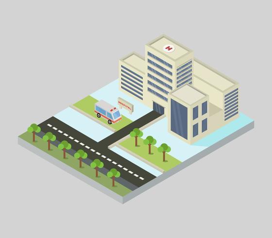 Hôpital isométrique sur fond blanc