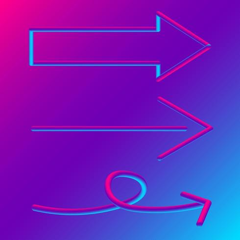 Les signes de la flèche sur fond dégradé bleu et violet