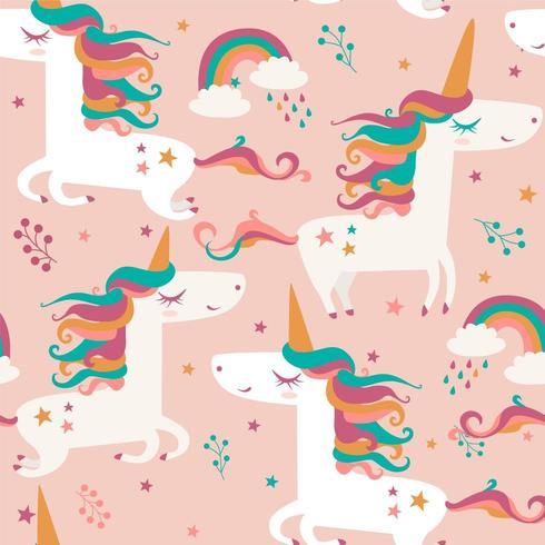Unicorn seamless vector pattern