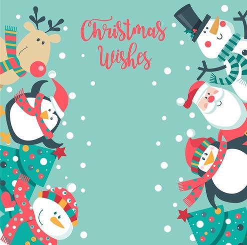 Nette Weihnachtskarte mit Sankt, Pinguin, Baum, Schneemann.