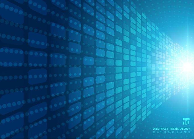 Abstract technologieconcept met blauwe neon radiale lichte uitbarsting