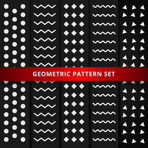 Conjunto de patrón geométrico blanco sobre fondo negro. vector