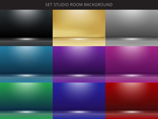 Conjunto de fondo de sala de estudio abstracto 9 con iluminación en el escenario. vector