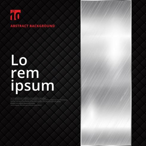 Diseño abstracto plata bandera metálica sobre fondo de textura de patrón de cuadrados negros. vector