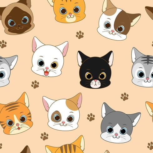 Cat Head Seamless Pattern sorridente sveglia
