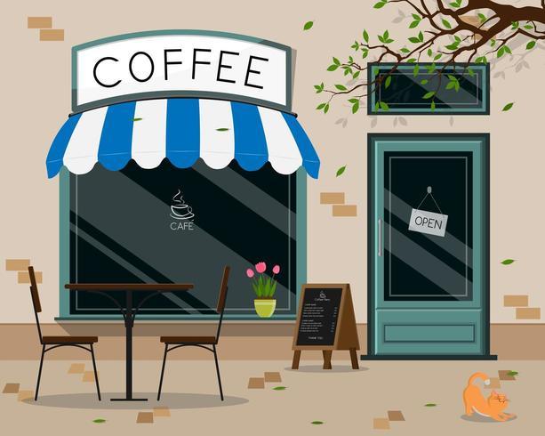 Frente de loja de café vetor