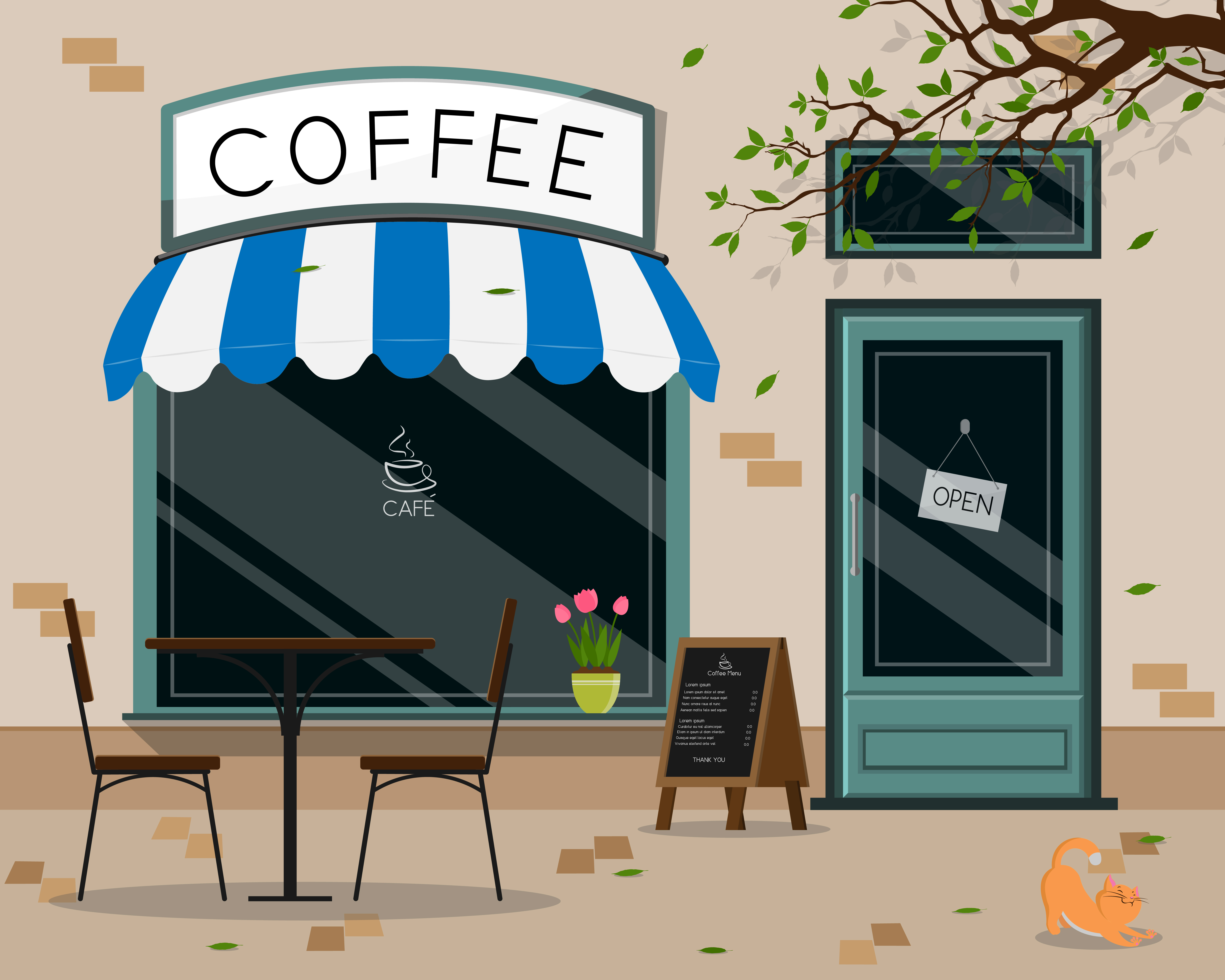 Coffee shop store front - Download Free Vectors, Clipart Graphics & Vector Art