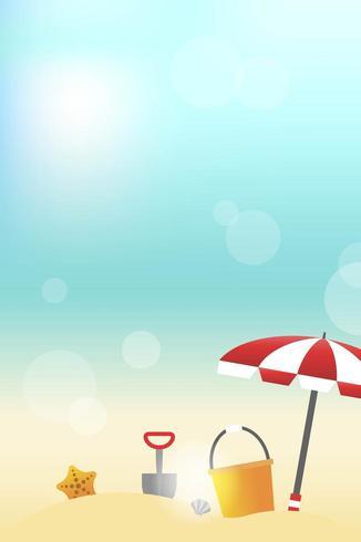 Sommer-Strandansicht mit Strandausrüstung