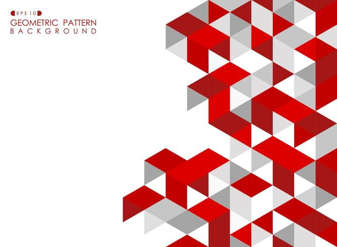 Abstract red geometric background with polygonal triangles vector
