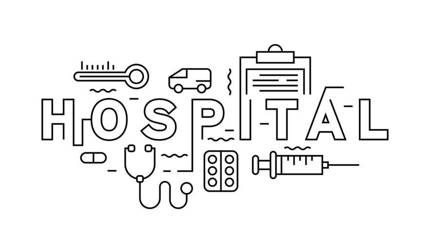 hospital fine line typography