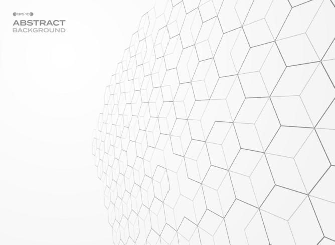 Abstract receding perspective hexagon outline  background
