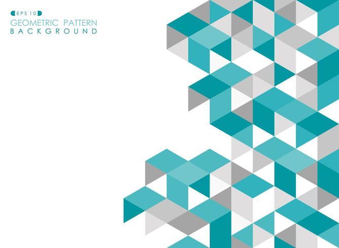 Patrón de mosaico triangular abstracto azul turquesa y gris vector
