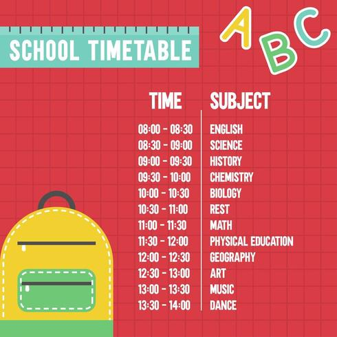 Orario scolastico per Ritorno a scuola
