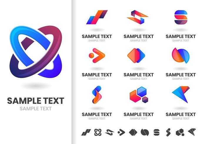 Conjunto de formas de logotipos modernos entrelazados vector