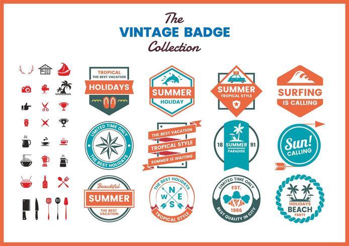 Set of vintage red blue business badges