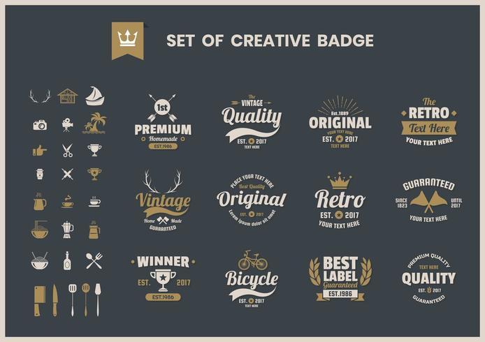 Set di badge aziendali retrò creativi