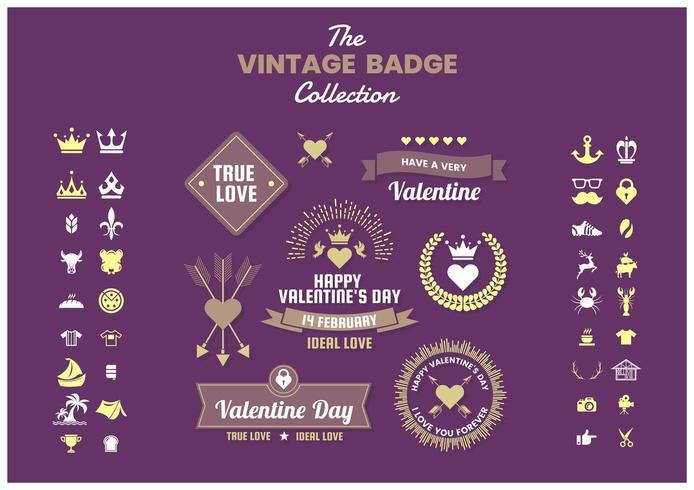 Conjunto de ícones e emblemas de negócios vintage