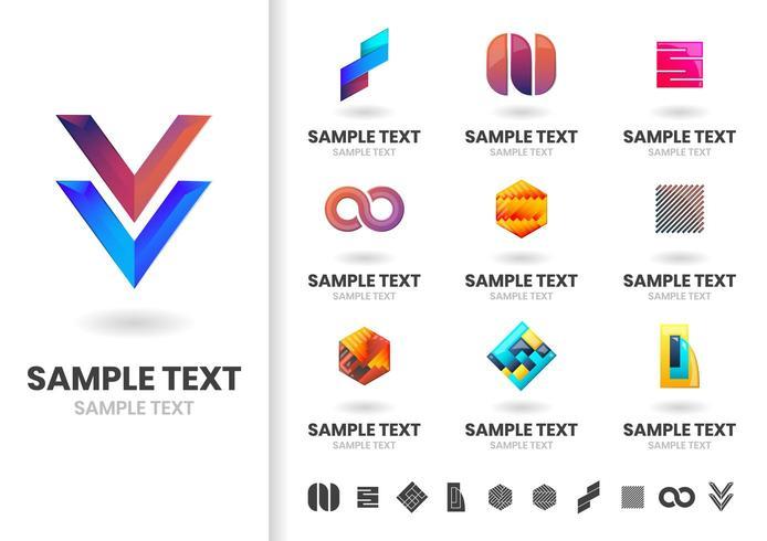 Set di loghi moderni di forma geometrica vettore