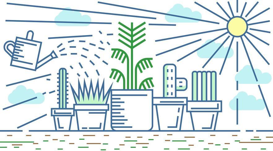 Plantes dans le style de ligne plate Sunlight