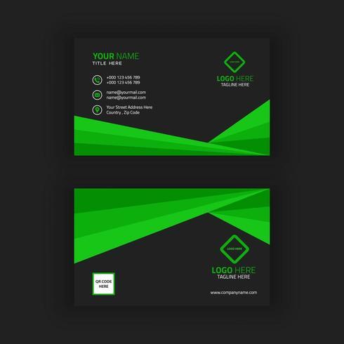 Modèle de carte de visite verte et noire vecteur