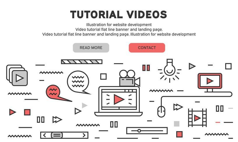 Målsida för videohandledning vektor