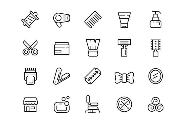 Set di icone da saloni di parrucchiere vettore