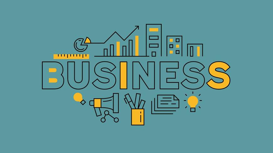 Doodle de tipografia de negócios
