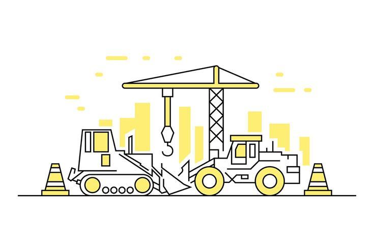 Construction Yellow Fine Line Doodle