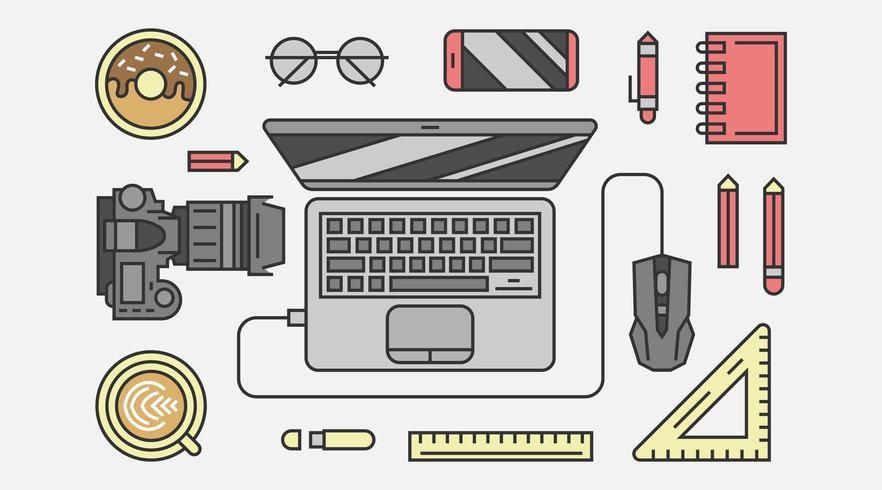 Digitales Equipment in der Draufsicht