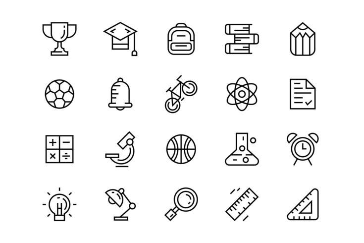 Set di icone piatte di educazione.