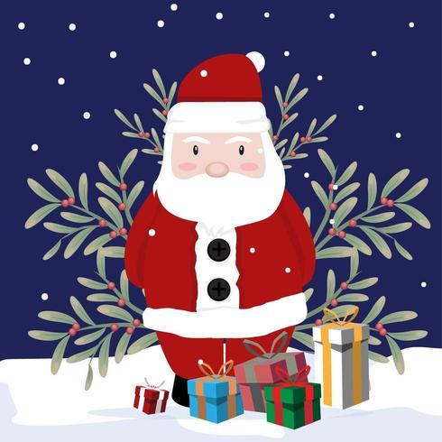 Navidad Santa afuera en la nieve vector