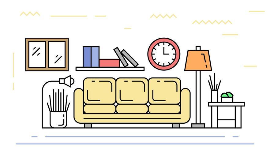 Salon appartement doodle vecteur
