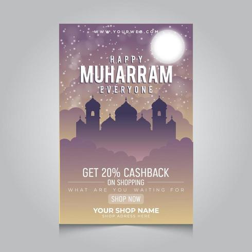 Gelukkig Muharram-posterontwerp voor islamitische winkel
