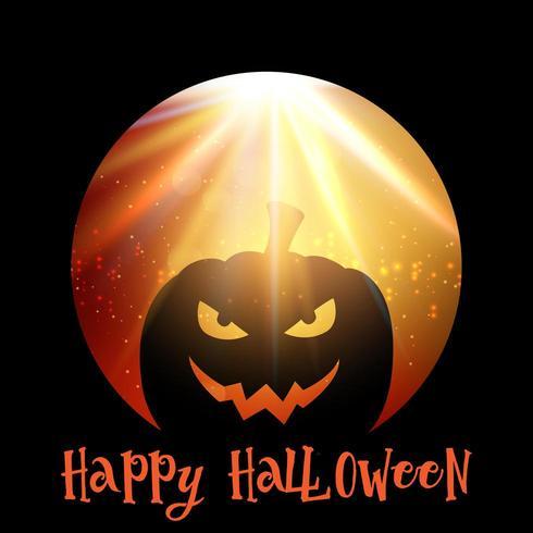 Sfondo di Halloween con zucca spettrale vettore