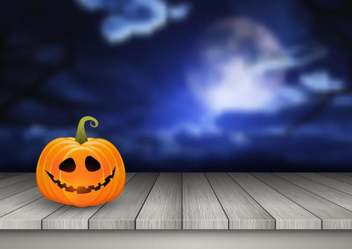 Halloween background with pumpkin on a wooden table against a spooky landscape vector