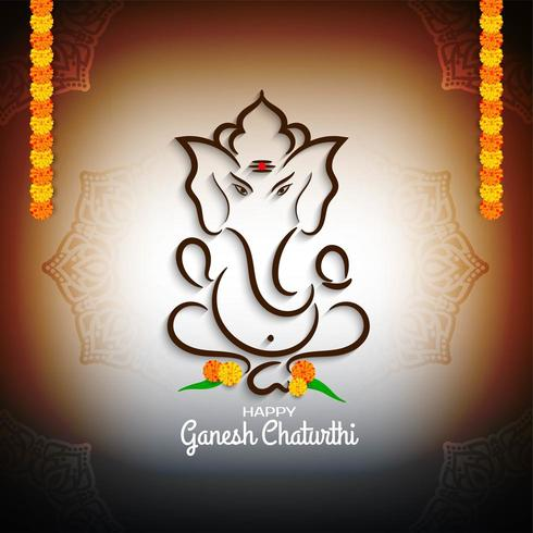 Colorful Ganesh Chaturthi with flowers  greeting