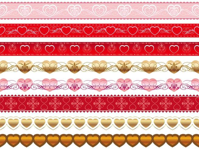 Set of Valentines Day seamless vector borders.