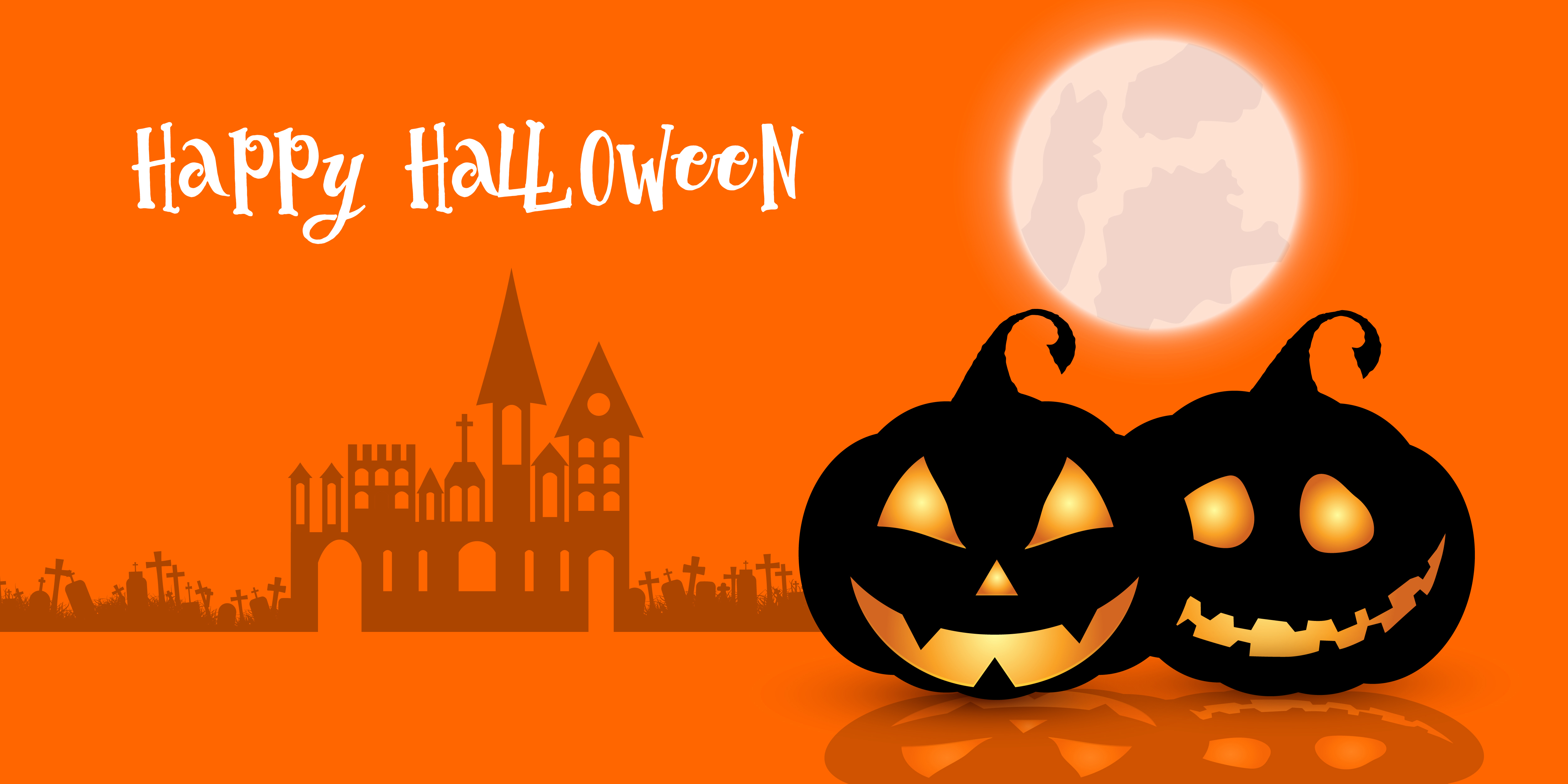 Happy Halloween Pumpkins And Spooky Haunted House Banner Download Free Vectors Clipart Graphics Vector Art