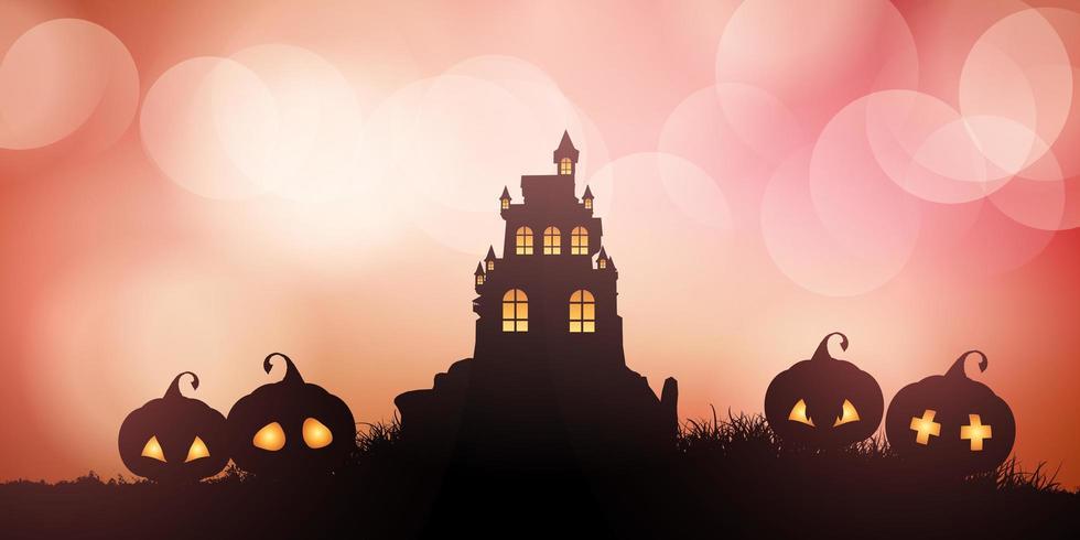 Banner de Halloween de casa embrujada con calabazas vector