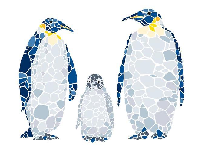 Familia de pingüinos mosaico aislado en un fondo blanco.