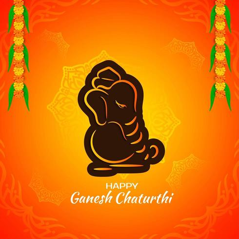 Bright orange and brown outline Ganesh Chaturthi greeting