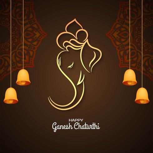 Ganesh Chaturthi brown greeting with bells