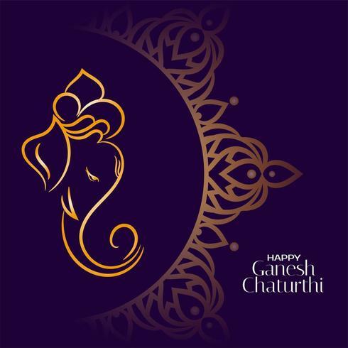 Golden lord ganesha on  dark background