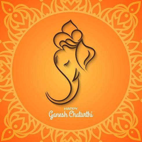 Ethnic Ganesh Chaturthi bright orange background