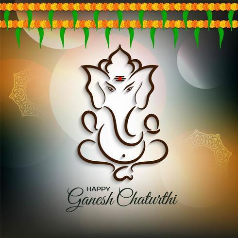 Ganesh Chaturthi marrón con saludo de flores vector