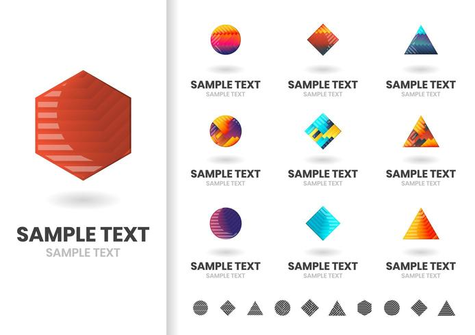 Conjunto de logotipos geométricos coloridos simples vector