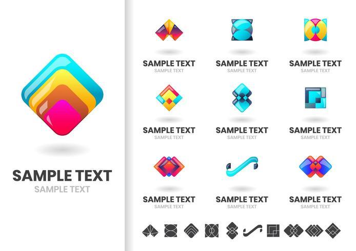 Ensemble de logos géométriques en couches colorées modernes